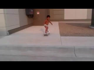 2-Year-Old Kid In Diaper Shows Off Skills On Skateboard